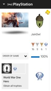 JsinOwl - Battlefield 1 Platinum Trophy